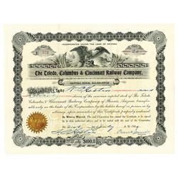 Toledo, Columbus & Cincinnati Railway Co., 1909 Issued Stock Certificate