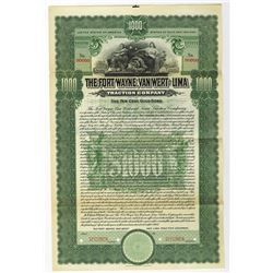 Fort Wayne, Van Wert and Lima Traction Co., 1905 Specimen Bond
