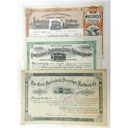 Attractive Trio of Pennsylvania State Railroad Certificates, all I/C Stock Certificates, 1888-1900
