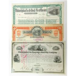 Desirable Trio of Philadelphia Railroad I/C Stock Certificates, 1873-1894
