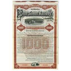 Penn Street Railway Co., 1892 Specimen Bond.