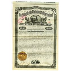 Pennsylvania, Slatington and New England Railroad Co.,1882 Issued Bond.