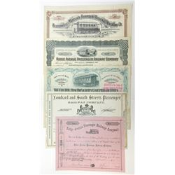 Philadelphia Quintet of Railroad Stock Certificates, 1876-1935.