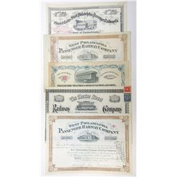 Philadelphia Railroad Quintet of Issued and Cancelled Stock Certificates, 1895-1938