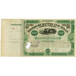 Missouri, Kansas & Texas Railway Co. 1880 Stock Certificate with Jay Gould Signature.