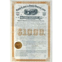 Salt Lake & Ft.Douglass Rwy Co., 1884 Issued Bond Signed By Brigham Young's Son.
