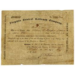 Virginia Central Railroad Co., 1850 Issued Stock Certificate