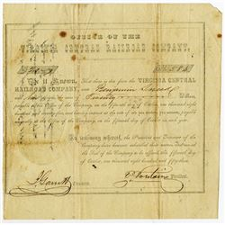 Virginia Central Railroad Co., 1853 Issued Bond