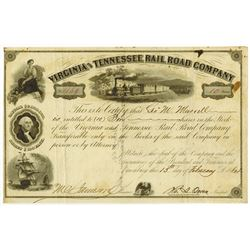 Virginia & Tennessee Rail Road Co., 1864 Issued Stock Certificate