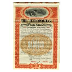 Metropolitan Railroad Co., 1895 Specimen Bond