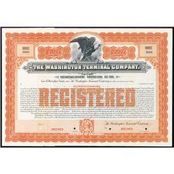 Washington Terminal Co. 1905 Specimen Registered Bond.