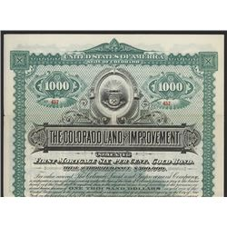 Colorado Land and Improvement Co. 1892 Specimen Bond.