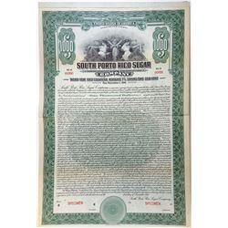 South Porto Rico Sugar Co., 1921 Specimen Bond