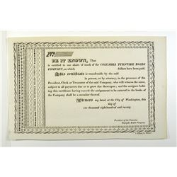 Columbia Turnpike Roads Co., 1820 Remainder Stock Certificate