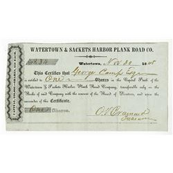Watertown & Sackets Harbor Plank Road Co., 1848 Issued Stock Certificate
