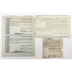 Trio of Turnpike Related Stock Certificates 1817-1826
