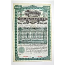 Lyons Water Works Co. 1892 Specimen Bond.