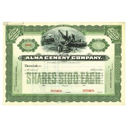 Alma Cement Co., ca.1910-1920 Specimen Stock Certificate