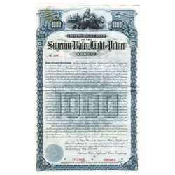Superior Water, Light and Power Co., 1901 Specimen Bond Stain
