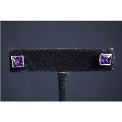 A pair of woman's earrings with amethyst.