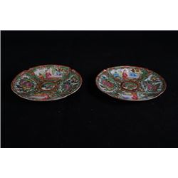 A pair of Guangzhou export famille-rose dishes.