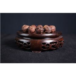 "A rosewood carved ""Chinese zodiac"" bead bracelet."