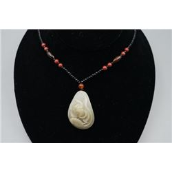 "Natural Grade-A ""He Tian"" Celadon Jade Pebble ""Lotus & Ruyi"" Pendant."