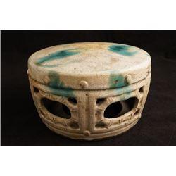 19th century Shiwan kiln drum-shape stool.