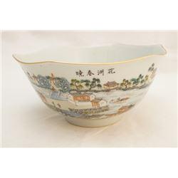A famille rose hexagonal bowl.