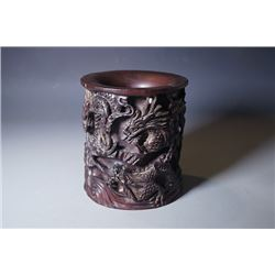 "A rosewood brush pot with ""Dragon"" pattern."