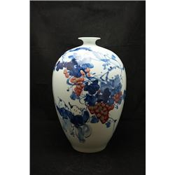"A Large ""Jing De Zhen"" Blue and White Underglazed-Red Meiping."