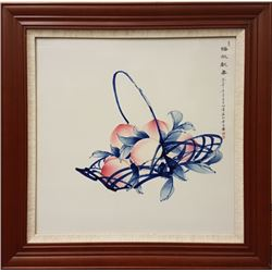 """""""Pan Tao Xian Shou"""" Blue and White Porcelain Plaque."""