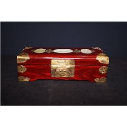 An Early 20th Century Wood Jewelry Box with Jade Inlay.