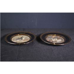 "Two small 24kt gold rim plates ""wild geese"" and ""geese""."