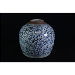 "A large blue-and-white ""Flora"" jar, cover loss."