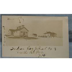 1909 original photo postcard, Indian Day School No. 3, Turtle Mountain Reservation, North Dakota