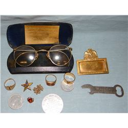 Woven human hair jewelry and George Mueller spectacles in case