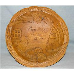"Lewis & Clark Centennial Exposition souvenir wooden hand carved bowl, 11"", 1905, Portland, OR"