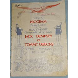 1923 Dempsey Gibbons Fight Program, July 4th, 1923, original