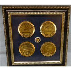 (4) Northwestern Bank brass coasters, Lewistown, MT commemorative
