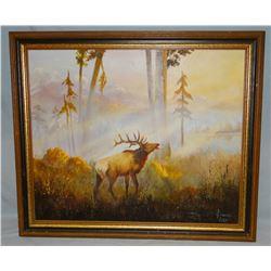 "Lowry, Vivian, original oil painting, The Challenger - Bull Elk, 18"" x 24"""