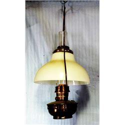 Aladdin Model B hanging oil lamp, milk glass shade