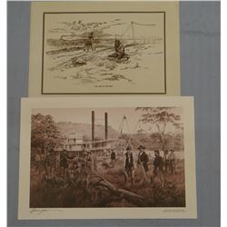2 art prints: CMR pencil print, The Last of His Race, and Queen of The Yellowstone, Robert Morgan, s