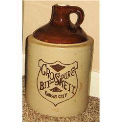 Crockett Bits & Spurs crock 1 gal. jug, ca 1920's