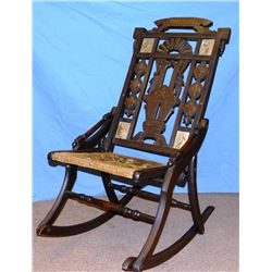 Ornate Conestoga folding rocking chair w/original tapestry seat, rare