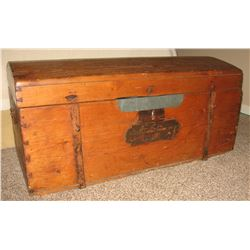 Wooden immigrant trunk, marked 1862, dome backed, wooden nails, rare