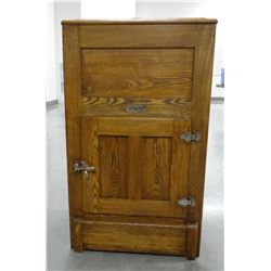 """Gibson Cambria oak ice chest, opening top & front door, 20""""w x 16""""d x 30""""h"""