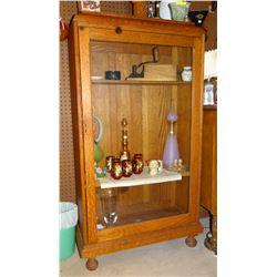 "Oak china cabinet, 2 shelves (1 oak, 1 replacement), 55"" h x 29"" w, lockable"