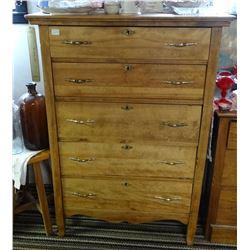 "Oak dresser, 5 drawer, 52"" h x 32"" w"
