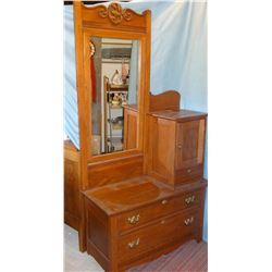 "Oak gentleman's dresser w/ mirror, 78"" h x 40"" w"